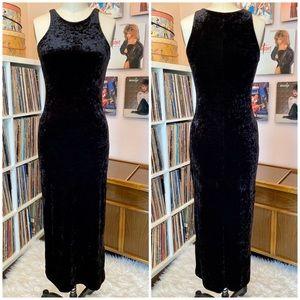 VTG 90's Betsey Johnson Crushed Velvet Maxi Dress